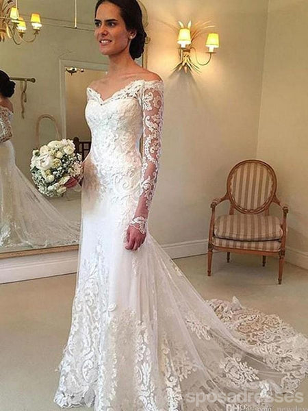 Long Sleeves Lace Mermaid Cheap Wedding Dresses Online, WD403