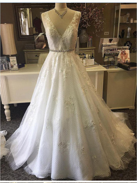 Lace Beaded V Neck A line Cheap Wedding Dresses Online, Cheap Lace Bridal Dresses, WD457