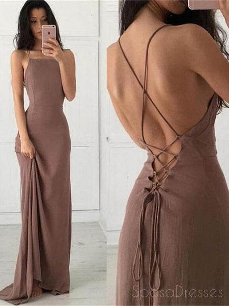 Simple Sexy Custom Long Cheap Brown Spaghetti Straps Evening Prom Dresses,PD0154