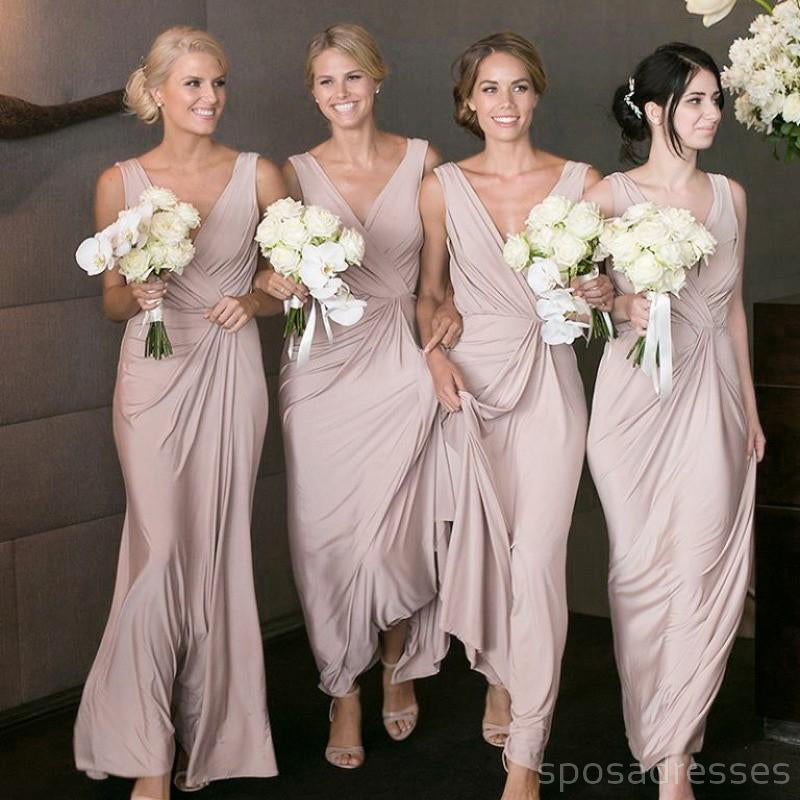 Chiffon Straps Dusty Pink Long Cheap Bridesmaid Dresses Online, WG207