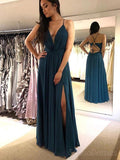 Spaghetti Straps Sexy Teal Side Slit Long Evening Prom Dresses, Cheap Sweet 16 Dresses, 18435