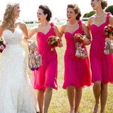 A-line One Shoulder Sleeveless Cheap Short Bridesmaid Dresses Online, WG797