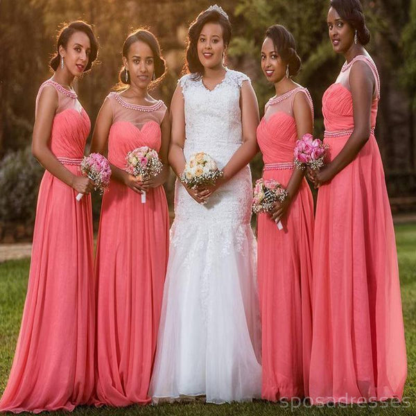 Coral Illusion Cap Sleeve Chiffon Custom Cheap Long Bridesmaid Dresses, WG242