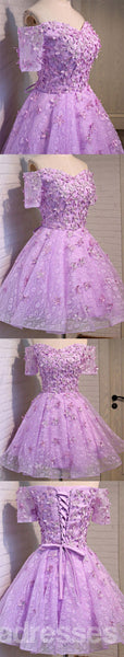 V Neckline See Through Lace Cute Homecoming Prom Dresses, Affordable Short Party Prom Dresses, Perfect Homecoming Dresses, CM305