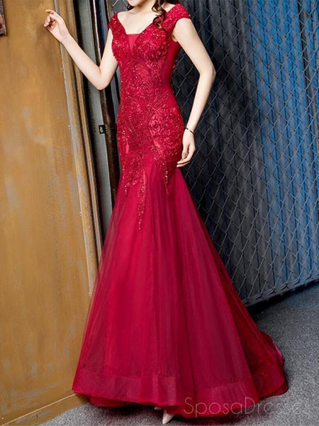 Cap Sleeves Red Lace Beaded Mermaid Cheap Long Evening Prom Dresses, Evening Party Prom Dresses, 18644