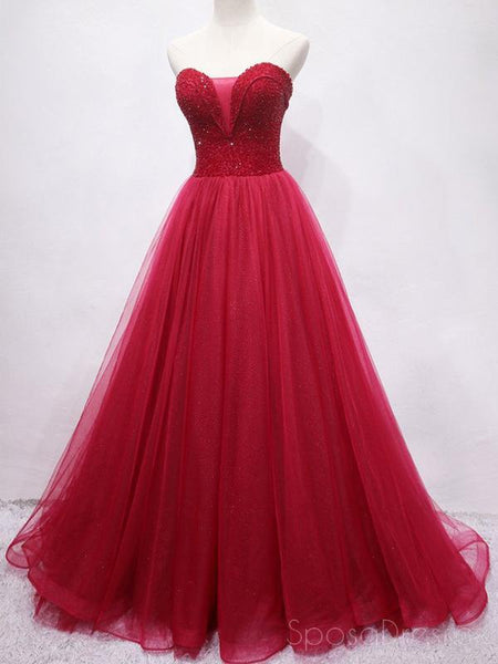 Sweetheart Beaded Dark Red Long Evening Prom Dresses, Cheap Custom Party Prom Dresses, 18594