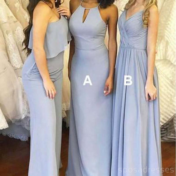 8f719df7643c Dusty Blue Mismatched Long Chiffon Cheap Bridesmaid Dresses Online, WG279