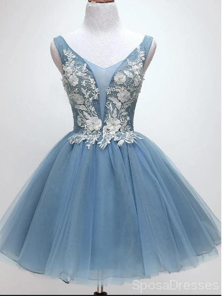 V Neck Dusty Blue Applique Cheap Short Homecoming Dresses Online, Cheap Short Prom Dresses, CM825