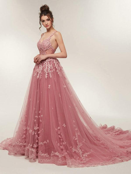See Through Dusty Pink Lace A Line Long Evening Prom Dresses Cheap