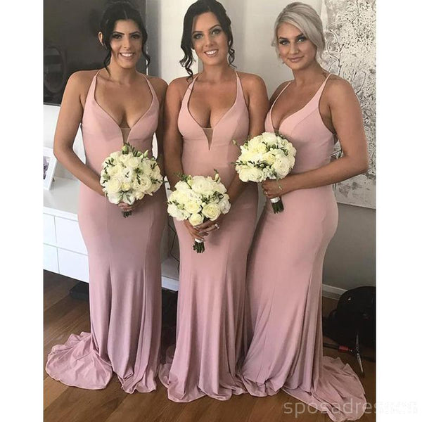 Halter Pale Pink Mermaid Floor Length Cheap Bridesmaid Dresses Online, WG562