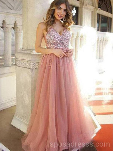 f5ba54bb780 Dusty Pink V Neck Beaded Long Evening Prom Dresses