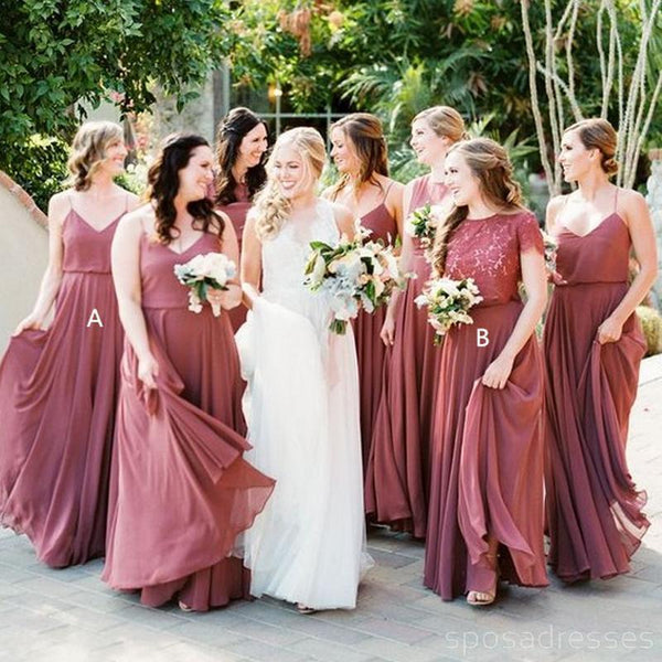 modern style best selection of Official Website Chiffon Dusty Rose Floor Length Cheap Bridesmaid Dresses Online, WG564