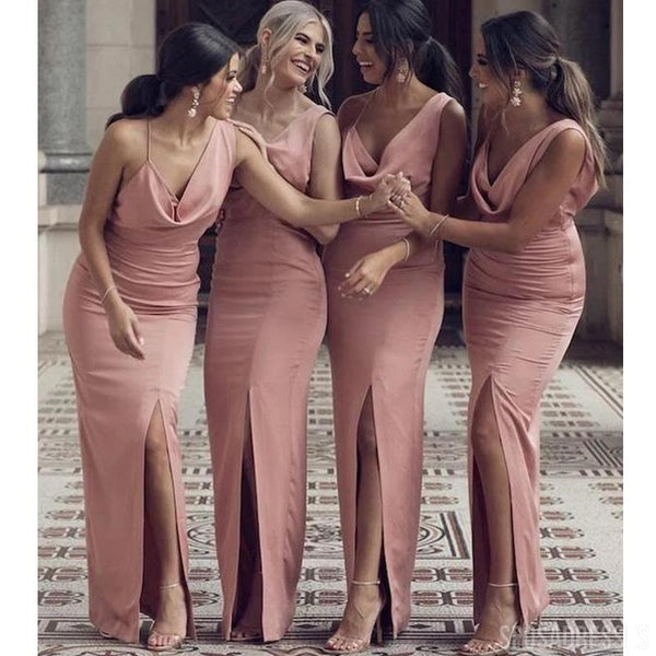 V neck Side Slit Mermaid Dusty Pink Long Bridesmaid Dresses Online, Cheap Bridesmaids Dresses, WG746