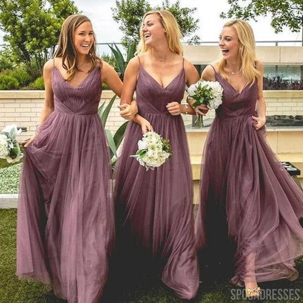 Spaghetti Straps Dusty Rose Long Bridesmaid Dresses Online, Cheap Bridesmaids Dresses, WG732