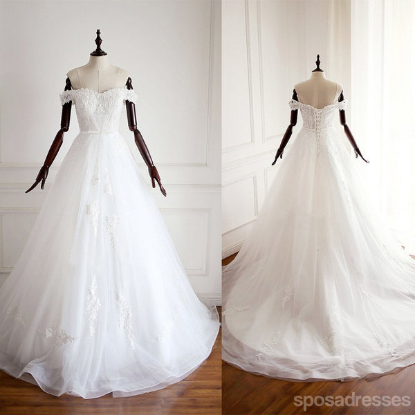 Off Shoulder A Line Lace Wedding Bridal Dresses, Custom Made Wedding Dresses, Affordable Wedding Bridal Gowns, WD231