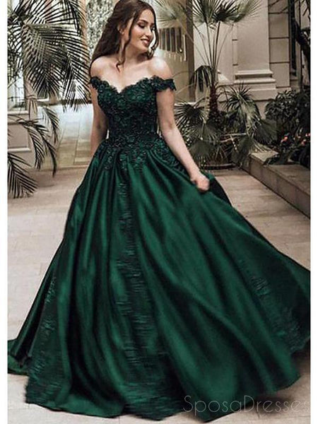 Off Shoulder Dark Green A-line Long Evening Prom Dresses, Cheap Sweet 16 Dresses, 18366