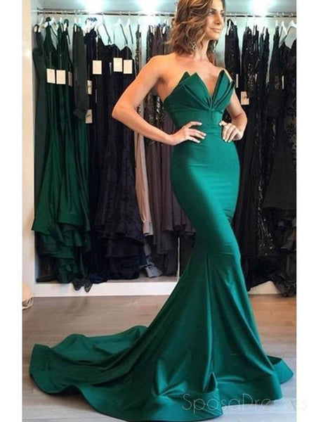 Emerald Green Mermaid Simple Cheap Formal Prom Dresses, 17068