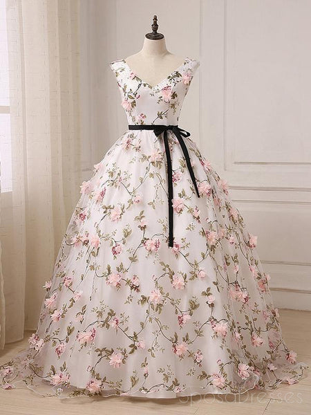 2018 V Neck A line Lace Flower Long Evening Prom Dresses, 17553