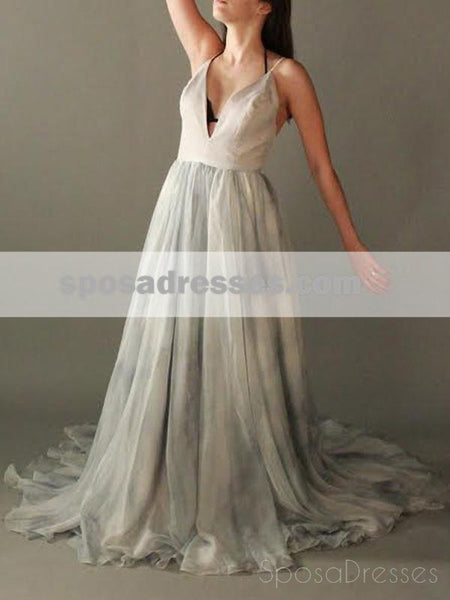 Sexy Spaghetti Straps Deep V Neck Chiffon Long Evening Prom Dresses, 17651