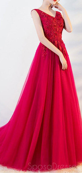 Bright Red A-line V-neck Lace Cheap Long Evening Prom Dresses, Evening Party Prom Dresses, 18647