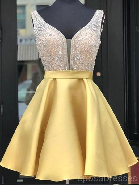 Gold V Neck Beaded Short Homecoming Dresses Online, Cheap Short Prom Dresses, CM838