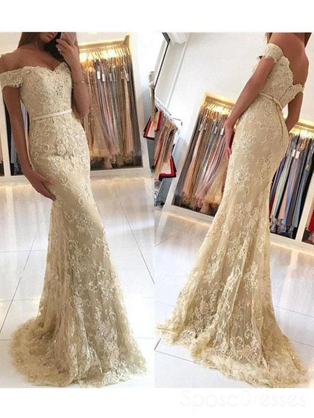 ff7118a82eb Off Shoulder Gold Lace Mermaid Evening Prom Dresses