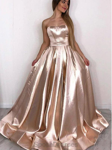 Strapless Sparkly Gold Cheap Evening Prom Dresses, Evening Party Prom Dresses, 12162