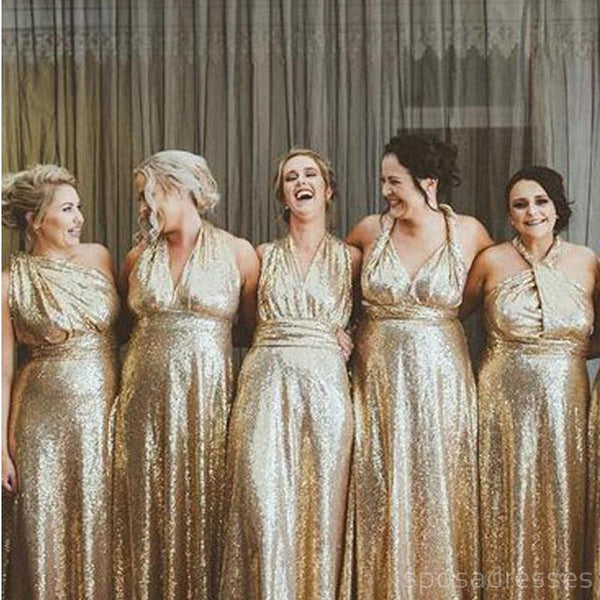 Mismatched Gold Sequin Cheap Long Bridesmaid Dresses Online, WG573