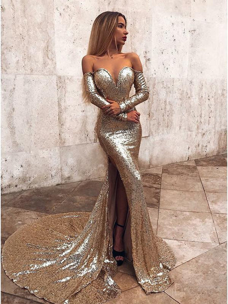 d558bdb79a8 Sparkly Gold Sequin Long Sleeves Mermaid Evening Prom Dresses