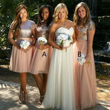Short Sleeves Sequin Top Tulle Skirt Custom Cheap Bridesmaid Dresses Online, WG370