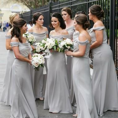 Off Shoulder Grey Chiffon Cheap Long Bridesmaid Dresses Online, WG368