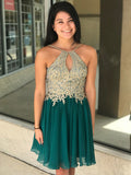 Green Gold Lace Halter Cheap Homecoming Dresses Online, Cheap Short Prom Dresses, CM736