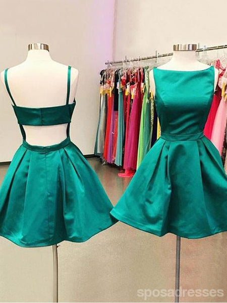 Short Cheap Open Back Emerald Green Homecoming Dresses, CM448