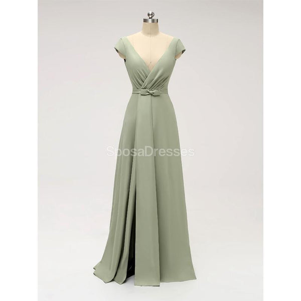 Short Sleeves Floor Length Chiffon Sofa Green Cheap Bridesmaid Dresses Online, WG587