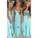 Green Mismatched Long Bridesmaid Dresses Online, Cheap Bridesmaids Dresses, WG749