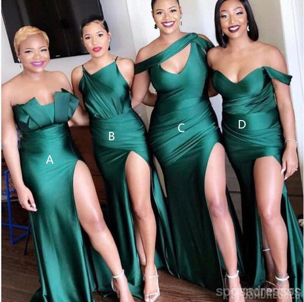 Mismatched Emerald Green Long Bridesmaid Dresses Online, Cheap Bridesmaids Dresses, WG733