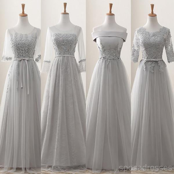 9d2e9ef0ae9 Lace Grey Mismatched Styles Chiffon Floor-Length Formal Long Bridesmaid  Dresses
