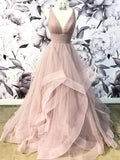 V-Neck Grey Tulle A-line Long Evening Prom Dresses, Cheap Party Custom Prom Dresses, 18628