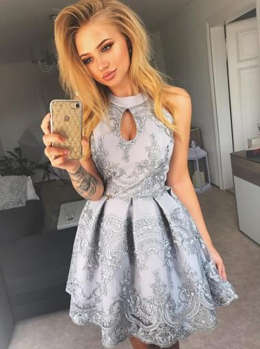 Halter Grey Lace Cheap Short Homecoming Dresses Online, CM624