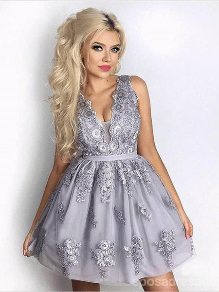 V Neck Grey Lace Cheap Short Homecoming Dresses Online, CM609