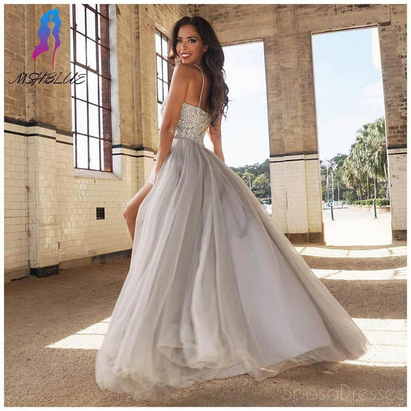 Sweetheart Gray Beaded A line Tulle Evening Prom Dresses, Cheap Party Prom Dresses, Custom Long Prom Dresses, Cheap Formal Prom Dresses, 17143
