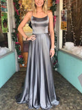 Spaghetti Straps Backless Silver Custom Long Evening Prom Dresses, 17713
