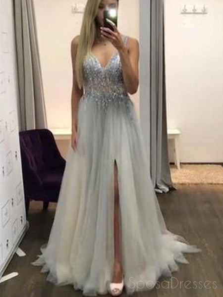 Sexy  Side Slit V Neck See Through Beaded A-line Long Evening Prom Dresses, 17646