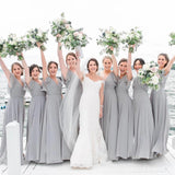 Chiffon Grey Cap Sleeves Long Cheap Bridesmaid Dresses Online, WG668