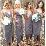 Spaghetti Straps Side Slit Bridesmaid Dresses, Cheap Bridesmaids Dresses, WG731