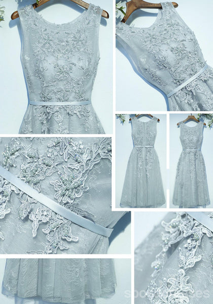 Gray Lace Round Neckline Homecoming Prom Dresses, Affordable Corset Back Short Party Prom Dresses, Perfect Homecoming Dresses, CM251