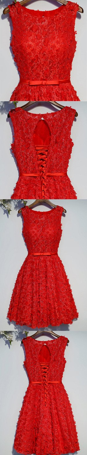 Red Lace Beaded Round Neckline Homecoming Prom Dresses, Affordable Corset Back Short Party Prom Dresses, Perfect Homecoming Dresses, CM253