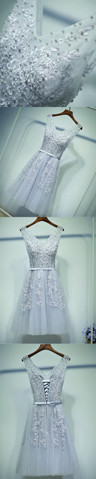 Cute Gray Lace v Neckline Short Homecoming Prom Dresses, Affordable Corset Back Short Party Prom Dresses, Perfect Homecoming Dresses, CM247