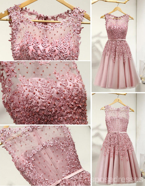 Dusty Pink Lace Beaded See Through Homecoming Prom Dresses, Affordable Short Party Prom Dresses, Perfect Homecoming Dresses, CM267