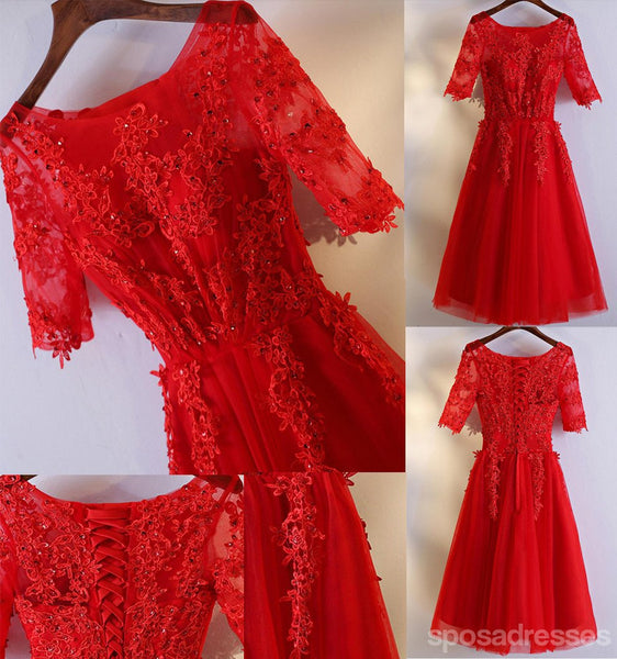 Short Sleeve Red Lace Round Neckline Short Homecoming Prom Dresses, Affordable Corset Back Short Party Prom Dresses, Perfect Homecoming Dresses, CM248